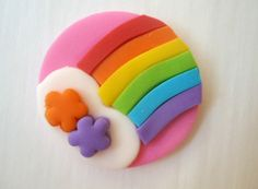 Fondant Cupcake Toppers - Rainbows with White Cloud and Flowers