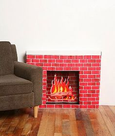 cardboard fireplace at grandma's house Faux Fireplace Mantels, Fireplace Shelves, Christmas Fireplace, Christmas Past, Retro Christmas, Christmas Diy, Fireplaces, Faux Fireplace Diy Cardboard, Faux Stone Electric Fireplace