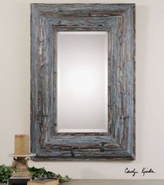 French Country Nautical Style Distressed Wood Thick Frame Wall Mantel Mirror $435.60