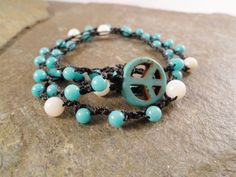 Turquoise Necklace or Double Wrap Bracelet Beaded Bohemian Jewelry