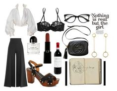 """""""We must let go of the life we have planned, so as to accept the one that is waiting for us."""" by rissacusaac on Polyvore featuring Satomi Kawakita, Valentino, Gucci, La Perla, Rasolli, Giorgio Armani, Claude Montana and Byredo"""