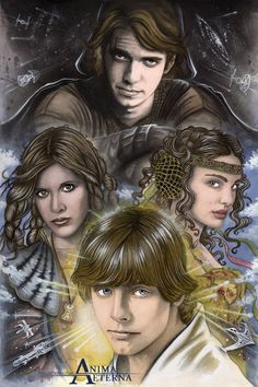 Commissioned Painting - Star Wars Traditional Art - Painted with Watercolor & Pastel With Anakin Skywalker/Darth Vader, Princess Leia Organa, Luke Skywalker & Padmé Amidala (Hayden Chr...