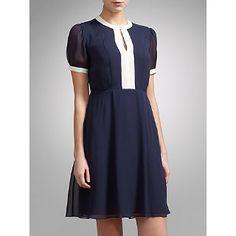 Buy Somerset by Alice Temperley Contrast Trim Silk Dress, Navy Online at johnlewis.com