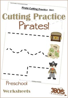 Let your child cut the lines to reach the pirate map, treasure, and more with this Cutting Practice worksheets from my Pirate Printables collection. Preschool Cutting Practice, Cutting Activities, School Worksheets, Worksheets For Kids, Pirate Activities, Physical Activities, Dementia Activities, Learning Resources, Teaching Tools