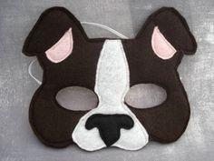Dog Mask - Puppy Mask - Animal Mask - Felt Mask - Pretend Play - Dress Up - Boston Terrier Puppy Costume For Kids, Projects For Kids, Crafts For Kids, Dog Mask, Black Puppy, White Puppies, Felt Dogs, Boston Terrier Dog, Animal Masks