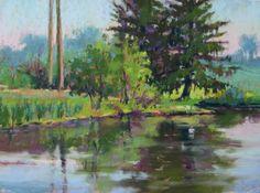 StoneBridge Pond Pastel Painting by Jill Stefani Wagner. Art for sale. www.jillwagnerart.com