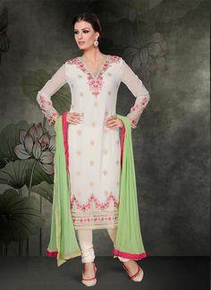 Winsome Embroidered Work Churidar Salwar Suit