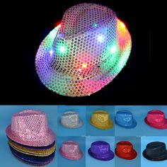 265c0b05ee5 Adult Woman and Men Fedora LED Flashing Light Up Jazz Cap for this Halloween