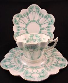 Art Nouveau Wileman Foley Pre Shelley Snowdrop Petunia Teacup Trio c1890-1910