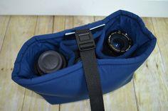 Camera Bag for your DSLR / Navy Water resistant foam padded insert, men or women, purse, backpack & diaper bag - Made in America Darby Mack