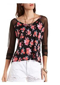 Floral Print Top with Mesh Sleeves