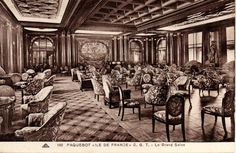 Grand salon de première classe / First Class main lounge on the Ile de France by Louis Süe et André Mare, 1927.