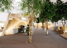 """KAMP Arhitektid created an office space inside a former factory in Estonia that features artificial five-metre-tall trees and angular wooden rooms, for a workspace that feels like a """"bright summer forest."""" Office Interior Design, Office Interiors, Office Designs, Scandi Living Room, Parks, London Fields, Wooden Room, Glass Brick, Workplace Design"""