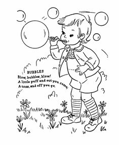 Mother Goose Nursery Rhymes Coloring Pages, Bubbles Nursery Rhyme - Folk Stories and fairy tale coloring pages. Nursery Rhythm, Nursery Rhyme Theme, Nursery Songs, Alphabet Coloring Pages, Alphabet Book, Colouring Pages, Coloring Books, Vintage Embroidery, Embroidery Patterns