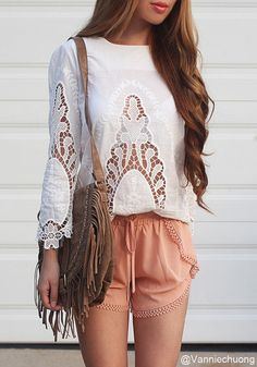 Floral White Cut Out Top