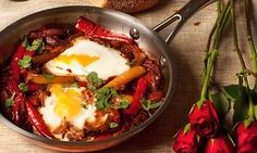 Yotam Ottolenghi's favourite Israeli and North African breakfast, eggs braised in an aromatic tomato and pepper sauce