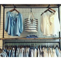 A blue and white summer display at the Johnny Was Clothing store at The Grove #retail #myjohnnywas