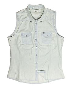 White Faded Denim Top - Women