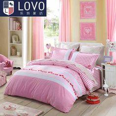 lovo床品全棉纯棉四件套件儿童-樱桃格子--粉色-(200*230) 欧洲亚超