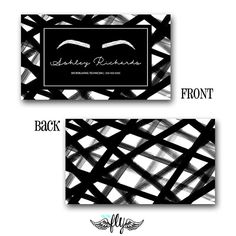 Pre-Made Modern Black and White Microblading eyebrows business cards by OnTheFlyDesignss