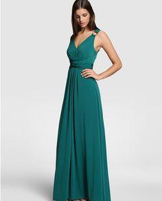 Vestido largo de mujer Tintoretto en verde