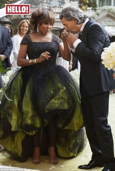 Tina Turner wore an emerald green ball gown at her wedding. Lady guests were asked to wear white. Tina Turner and Erwin Bach at their wedding reception. Green Wedding Dresses, Wedding Gowns, Wedding Album, Wedding Shoot, Wedding Reception, Celebrity Couples, Celebrity Weddings, Celebrity News, Armani Gowns