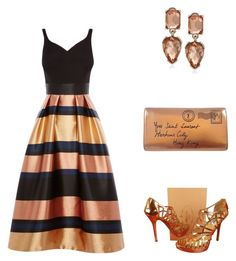 """Coast Rita Metallic Stripe Dress"" by simpleelegance-558 ❤ liked on Polyvore featuring Coast, Prada, Yves Saint Laurent and Kenneth Cole"