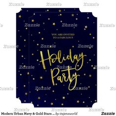 Modern Urban Navy & Gold Stars Holiday Party Invitation Modern Christmas, Gold Christmas, Holiday Parties, Holiday Fun, Holidays With Kids, Happy Holidays, Navy Gold, Navy Blue, Holiday Party Invitations