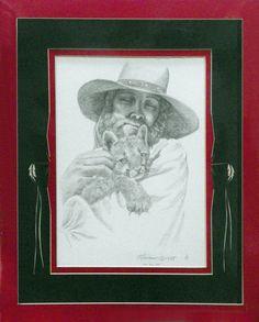 Cat and Dan - Original Pencil drawing matted and framed $750.  Mountain Man, Dan and Cougar cub.  14 x 18