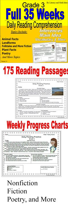 Grade 3 -- 35 Full Weeks of Daily Practice Reading Practice, Reading Lessons, Reading Strategies, Reading Skills, Guided Reading, Teaching Reading, Free Reading, Teaching Ideas, Reading Passages
