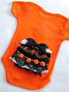 Holy cuteness! Ruffle Halloween butt on onesie!  #orange #black #fall