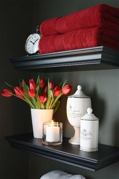 Lovely bathroom shelves and display in red, white and black