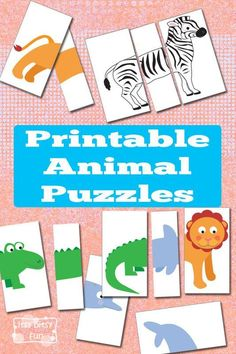 Printable Busy Bag - Animal Puzzles. Super cute DIY activity for kids. Animal lovers will enjoy this easy game idea.