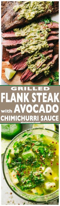 Grilled Flank Steak with Avocado Chimichurri Sauce – Deliciously juicy grilled flank steak served with an amazing blend of avocado and chimichurri sauce! (Whole 30 Recipes Steak) Grilling Recipes, Meat Recipes, Mexican Food Recipes, Dinner Recipes, Cooking Recipes, Healthy Recipes, Recipies, Ketogenic Recipes, Chimichurri
