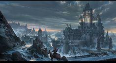 Gothic Winter Town Fantasy castle Fantasy city Fantasy landscape