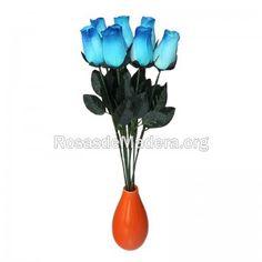 rosa-azul-grande Grande, Wooden Flowers, Roses, Blue Nails