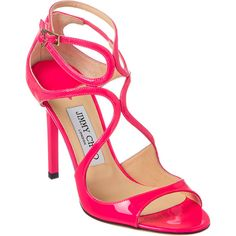 Jimmy Choo Lang Neon Patent Sandal (4.310 DKK) ❤ liked on Polyvore featuring shoes, sandals, pink, patent leather sandals, high heel ankle strap shoes, neon sandals, jimmy choo sandals and high heel shoes
