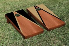Gold & Black Rosewood Triangle Cornhole Boards Game Set (Stained Inside)