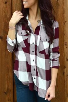 Stylish Shirt Collar Long Sleeve Plaid Side Slit Shirt For Women