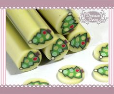 Christmas Tree Polymer Clay Cane / Fimo Cane Stick For 3D Nail Art Decoration Miniature Sweet Food / Dessert / Cake Deco F179. $0.99, via Etsy.