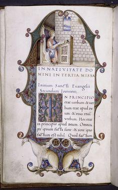 Scribe: Bartolomeo Sanvito, b. 1435, Lectionary with sequences; Epistolary (volume 1) and Evangeliary (volume 2) f. 2v (vol. 2), ca. 1520, NYPL