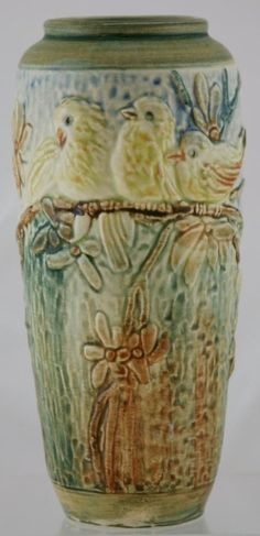 Weller Glendale Vase w Baby Chickadees Perched on A Blossom Branch Mint Weller Pottery, Roseville Pottery, Candlestick Holders, Candlesticks, Antique Art, Vintage Art, Chickadees, Arts And Crafts Movement, Pottery Art