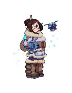 Chibi picture of Mei and Snowball from Overwatch