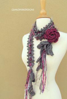 Articoli simili a Queen Ann Rose Lariat - Wild Berry su Etsy Crochet Flower Scarf, Freeform Crochet, Crochet Scarves, Crochet Shawl, Crochet Flowers, Crochet Gifts, Crochet Yarn, Hand Crochet, Crochet Accessories
