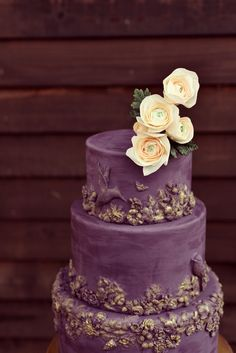 Elegant modern plum purple wedding cake with bas relief detailing, brushed with gold and topped with sugar flowers. 2 Tier Cake, Tiered Cakes, Beautiful Cakes, Amazing Cakes, Sugar Flowers, Cake Flowers, Blue Cakes, Fashion Cakes, Fondant