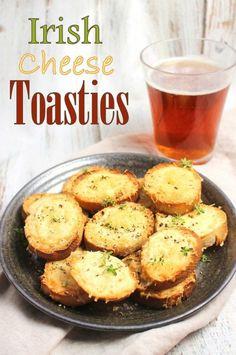 Irish Cheese Toasties - The Best Irish Recipes Irish Desserts, Irish Appetizers, Appetizer Recipes, Cheese Appetizers, Asian Desserts, Appetizer Ideas, St Patricks Day Essen, St Patricks Day Food, Cheese Toasties