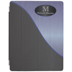 Elegant Monogram Sapphire Brush and Black iPad Cover.  #ipad #cover #professional #zazzle