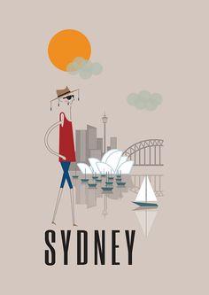 Sydney Print 11x16 A3 poster wall art decor fun by BJEartshop