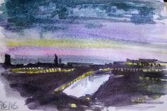 Moscow by night  wtercolor on paper 15x10 cm -- Mosca di notte acquerello su carta 15x10 cm --- Ночная Москва. Акварель бумага 15х10 см #ночь #москва #акварель #живопись #art #arte #watercolor #moscow #russia #mosca #paesaggio #landascape #river #fiume