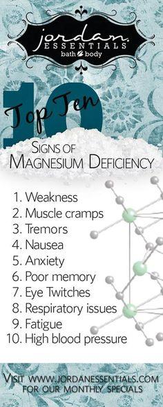Jordan Essentials.  Top 10 signs of Magnesium Deficiency  www.myjestore.com/tinachaffin